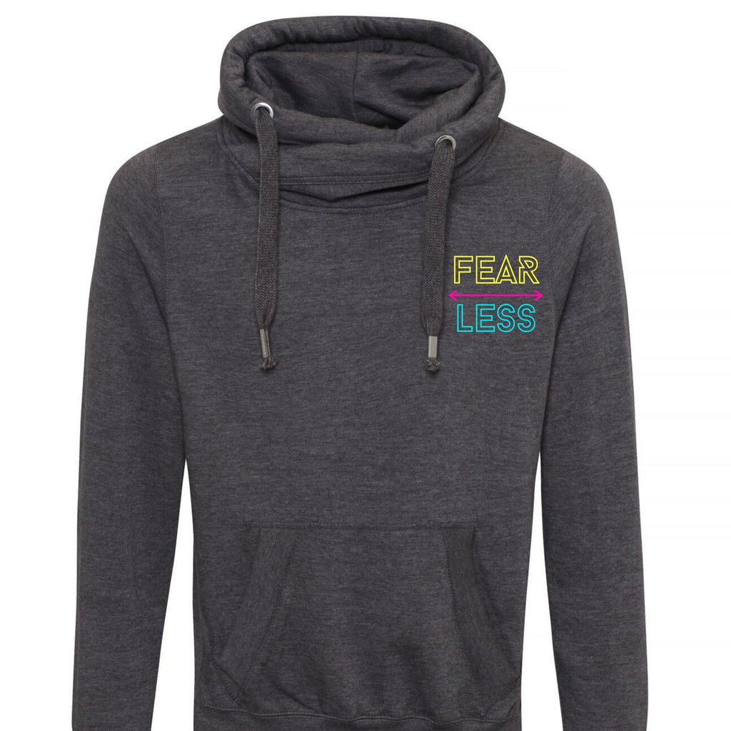 Fear Less Unisex Cross Neck Hoodie by stray funk design