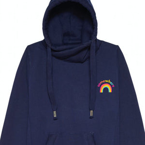 Somewhere Over The Rainbow Unisex Cross Neck Hoodie by stray funk design