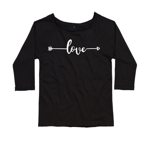 Love Arrow, Ladies Flash Dance Sweatshirt by stray funk design
