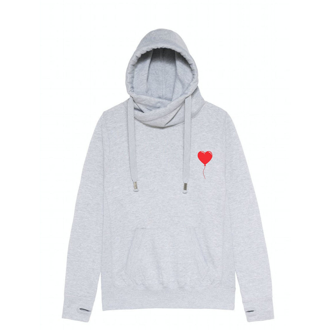 Red Heart Balloon Unisex Cross Neck Hoodie by stray funk design