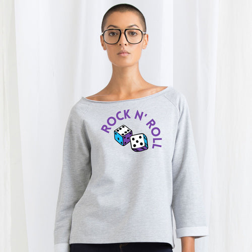 Rock n Roll, Ladies Flash Dance Sweatshirt by stray funk design