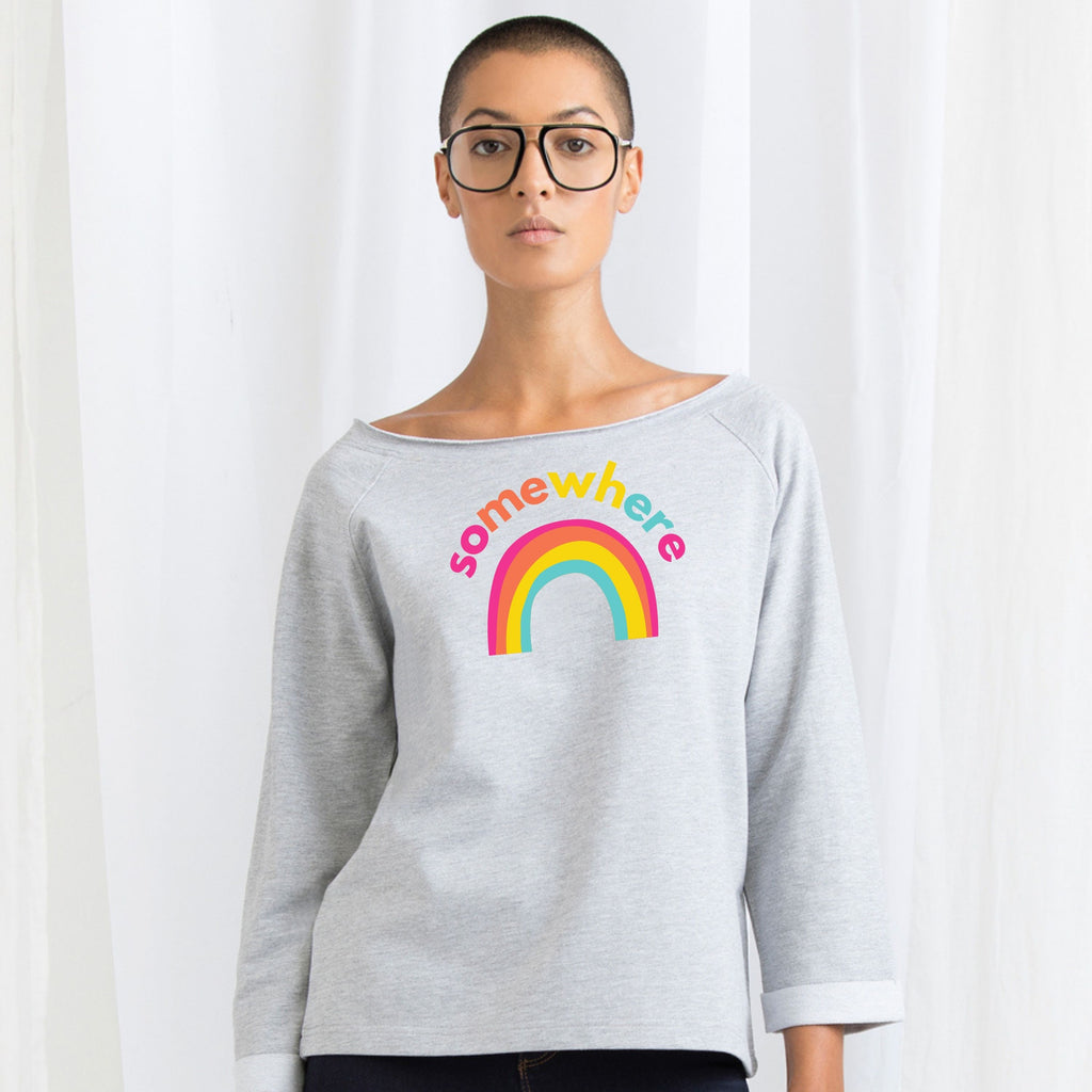 Somewhere Over The Rainbow, Ladies Flash Dance Sweatshirt by stray funk design