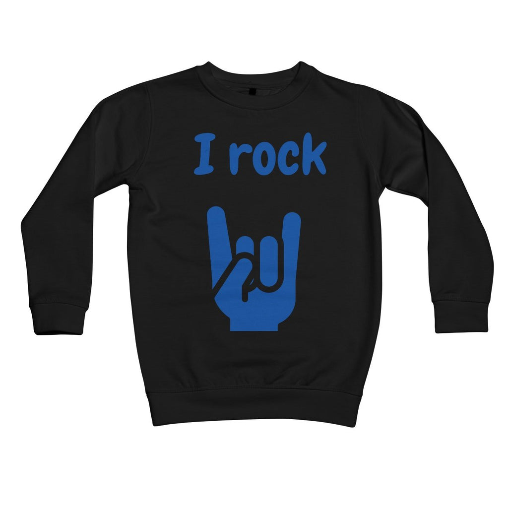 I Rock (Blue) Kids Sweatshirt by stray funk design