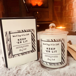 Keep 'er Lit soy wax candle by stray funk design