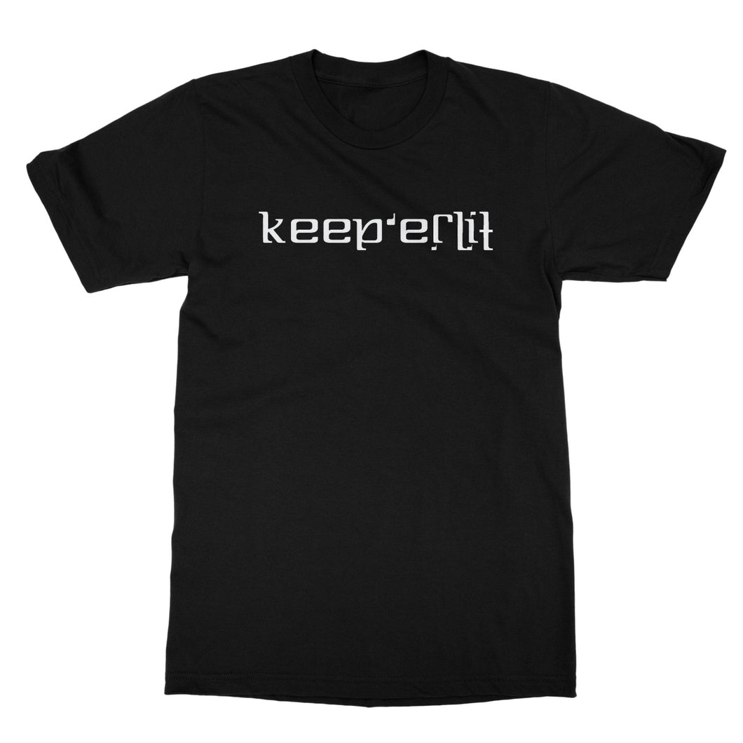 Keep er Lit (White) Ambigram Softstyle T-Shirt by stray funk design