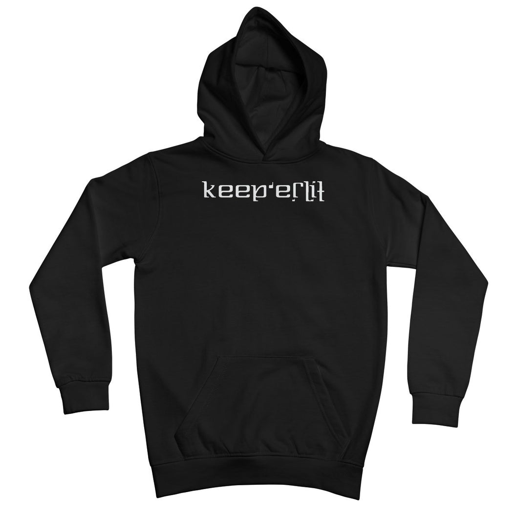 Keep er Lit (White) Ambigram Kids Hoodie by stray funk design