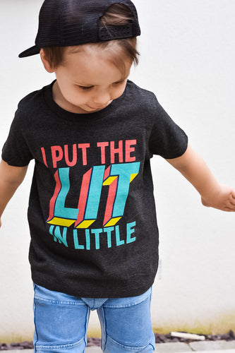 'I Put The Lit In Little' Kids Organic Tee by stray funk design