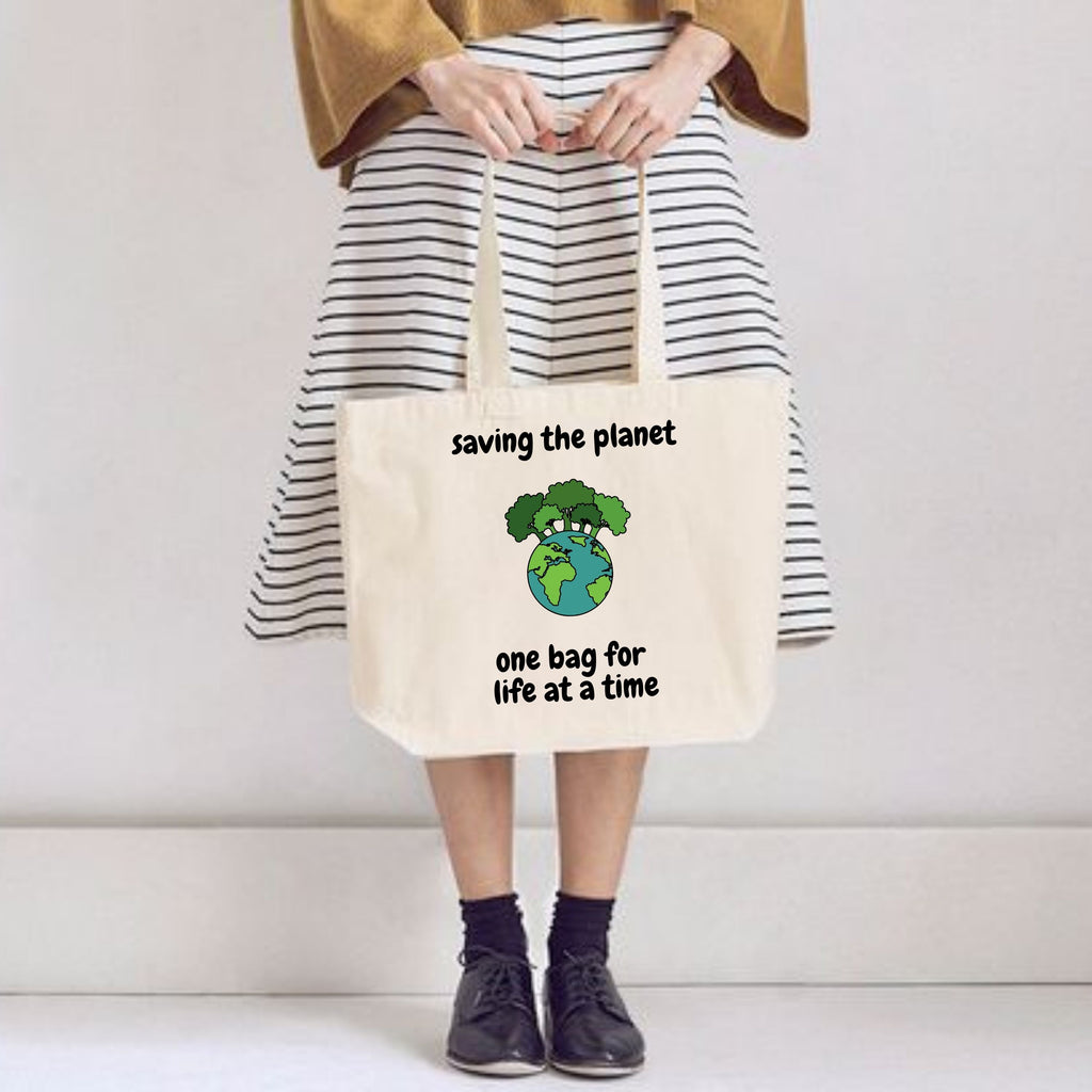 Saving the Planet 100% Organic Forever Bag by stray funk design