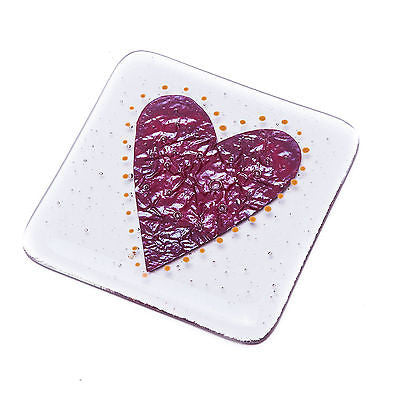Big Love Heart Fused Glass Coaster