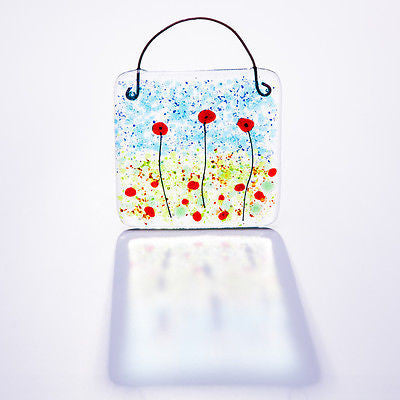 Poppy Fields Fused Glass Light Catcher Square
