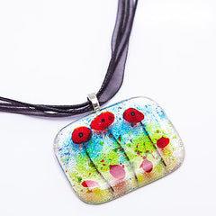 Fused Dichroic Glass Silver Poppy Pendant Necklace