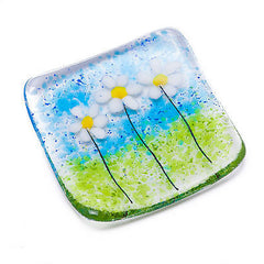 White Daisy Fused Glass Trinket Dish