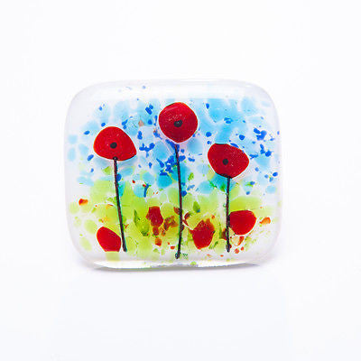 Poppy Fields Fused Glass Brooch
