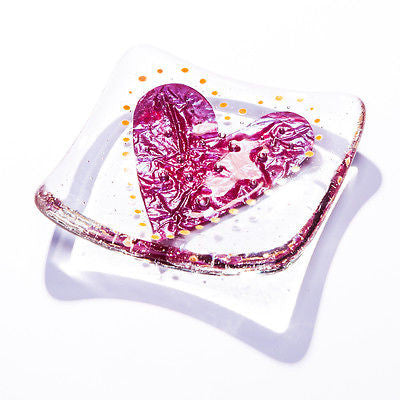 Big Love Heart Fused Glass Trinket Dish