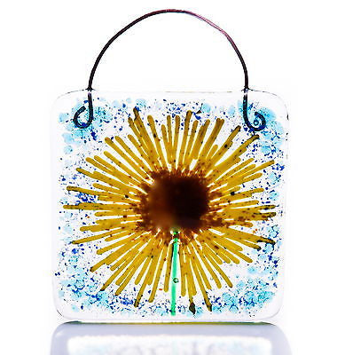 Sunflower Fused Glass Light Catcher Square