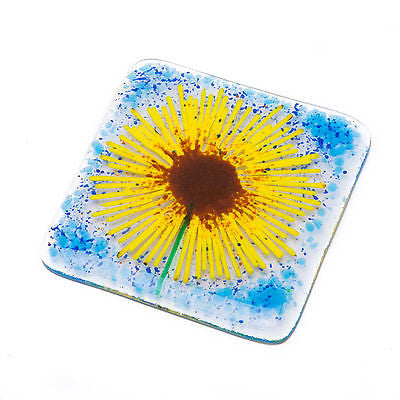 Sunflower Fused Glass Coaster