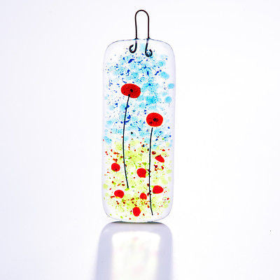 Poppy Fields Fused Glass Light Catcher Slim