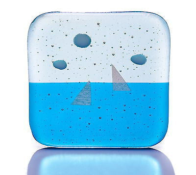 Blue Sails Fused Glass Coaster with Silver Dichroic Sail Boats