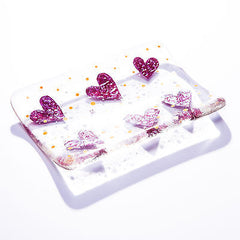 Little Love Hearts Fused Glass Soap Dish Gift Set with Natural Soap