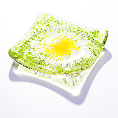 Daisy Chain Fused Glass Trinket Dish