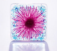 Pink Gerbera Daisy Fused Glass Coaster