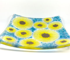 Sunflower fused glass dish - 20cm by 20cm