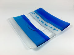 Coastal fused glass candle holder - cobalt blue, turquoise and white stripes