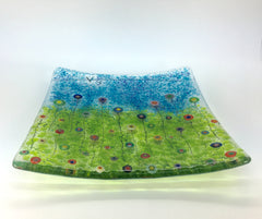 Rainbow millefiori flowers fused glass bowl platter - 20cm by 20cm