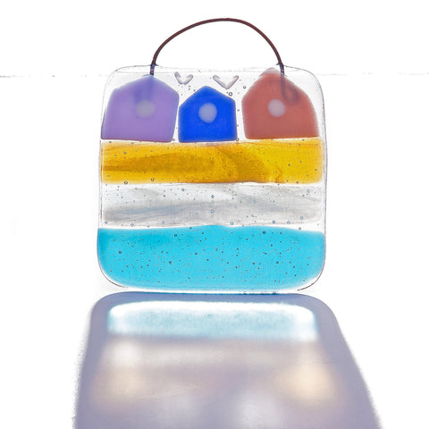Beach Huts Light Catcher Fused Glass Square
