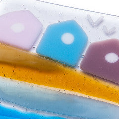 Set of Four Beach Hut Fused Glass Coasters