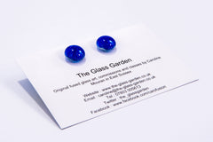 Cobalt Blue Dichroic Glass Sparkly Stud Earring on Sterling Silver 925