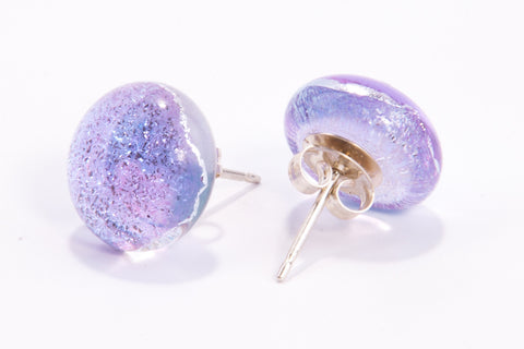 Lilac Dichroic Glass Sparkly Stud Earrings on Sterling Silver 925