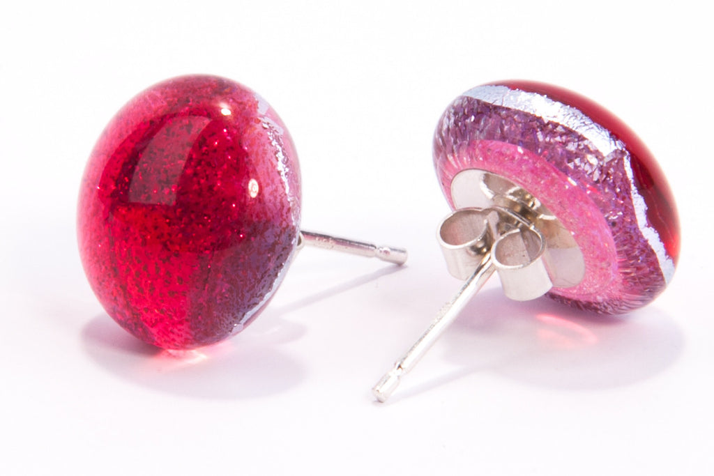 Cherry Red Dichroic Glass Sparkly Stud Earrings on Sterling Silver 925