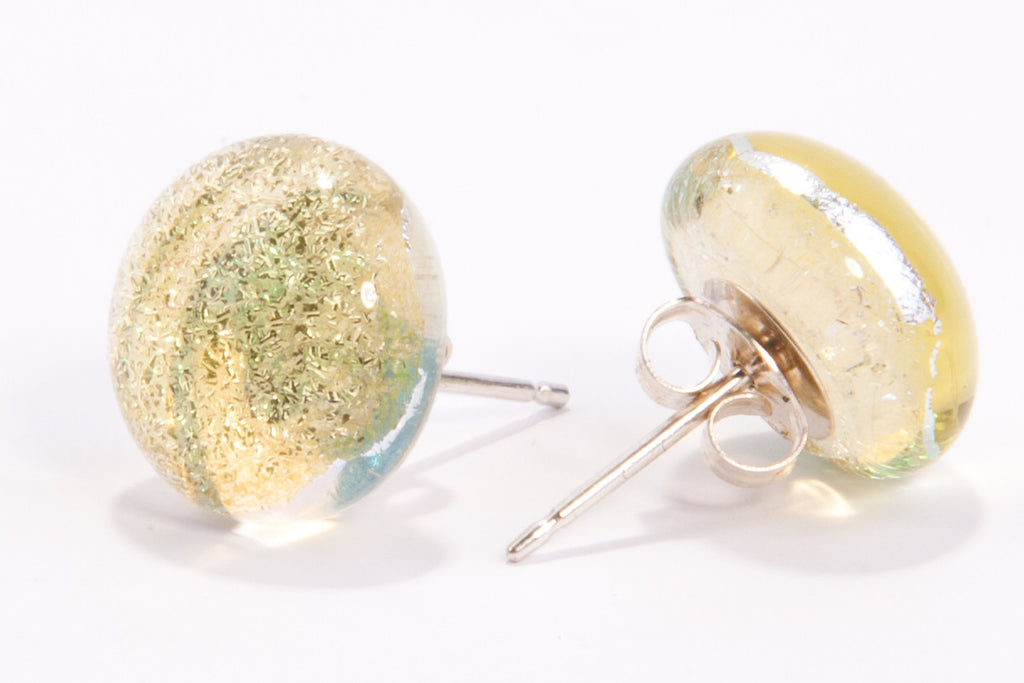 Champagne Dichroic Glass Sparkly Stud Earrings on Sterling Silver 925