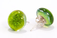 Spring Green Dichroic Glass Sparkly Stud Earrings on Sterling Silver 925