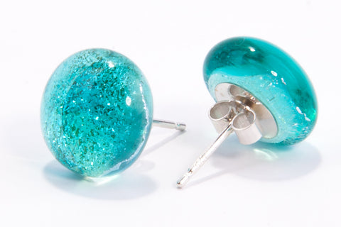 Aqua Blue Dichroic Glass Sparkly Stud Earrings on Sterling Silver 925