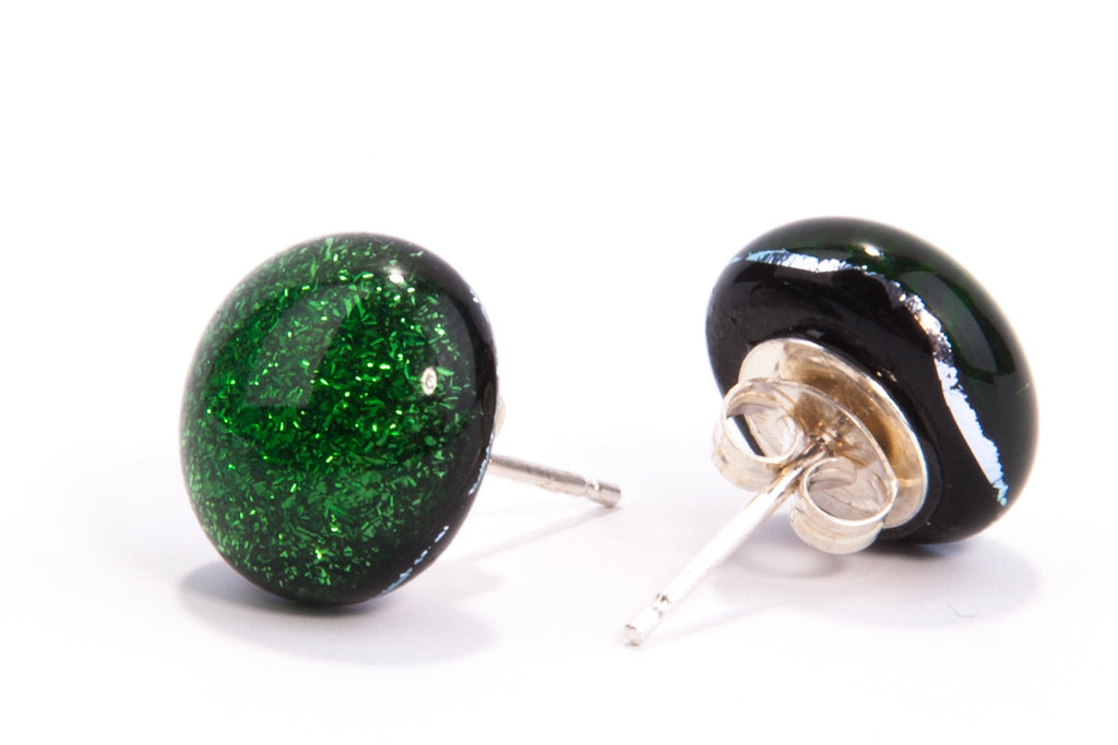 Forest Green Dichroic Fused Glass Stud Earrings on Sterling Silver 925