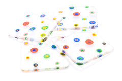 Set of Four Rainbow Millefiori Flowers Coasters