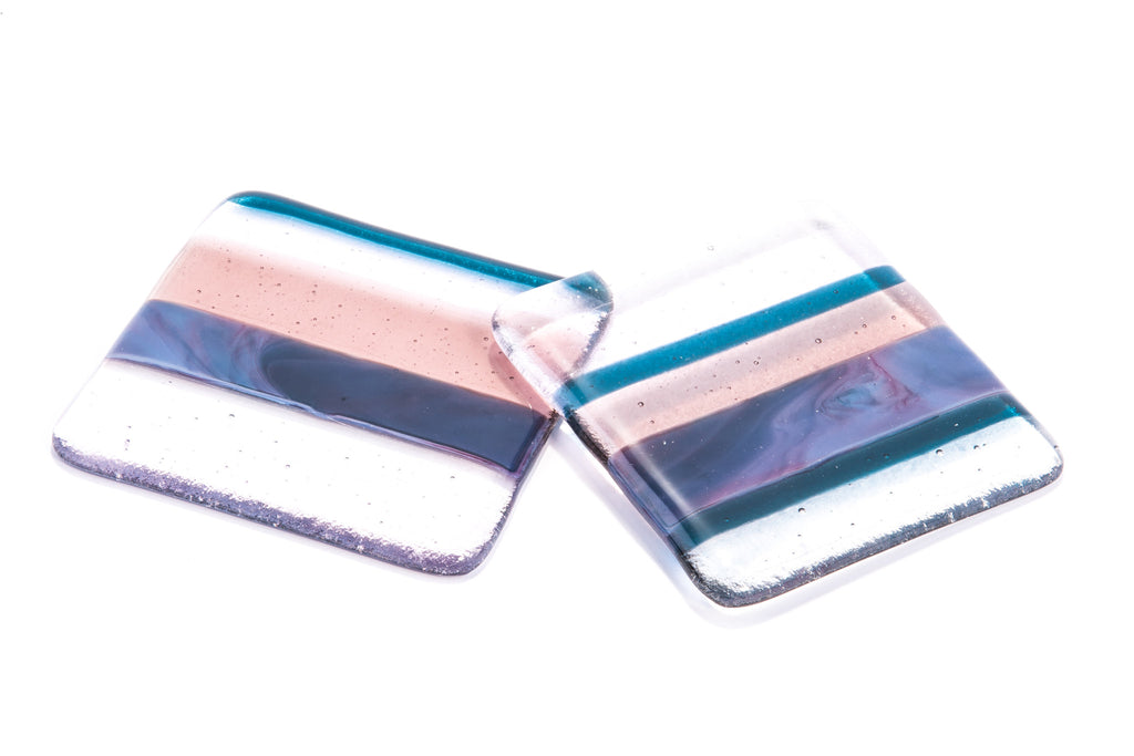 Set of Two fused glass 'Twilight' Fused Glass Coasters