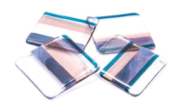 Set of Four 'Twilight' Stripy Fused Glass Coasters - plum, pink, teal blue stripes