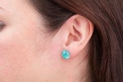Turquoise Dichroic Glass Sparkly Stud Earrings on Sterling Silver 925
