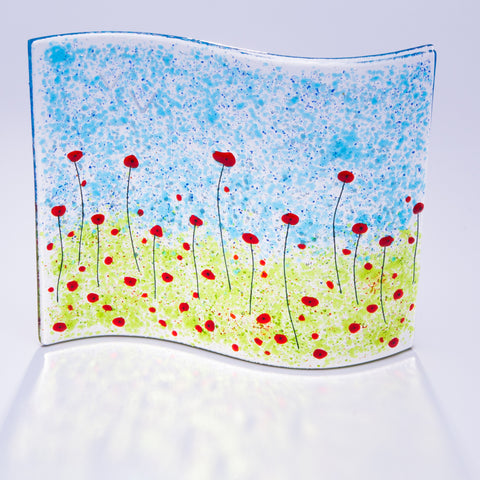 Poppy Fields Large Fused Glass Free-standing Wave
