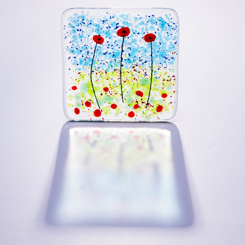 Poppy Fields Fused Glass Coaster