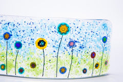 Millefiore Flower Fused Glass Wave