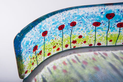 Poppy Fields Fused Glass Free-standing Wave Sculpture