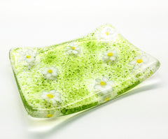 Green Ditsy Daisy Soap Dish Fused Glass Gift Set with Natural Soap