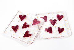 Little Love Hearts Fused Glass Coasters - Set of 2