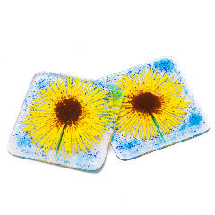 Set of Two Sunflower Fused Glass Coasters