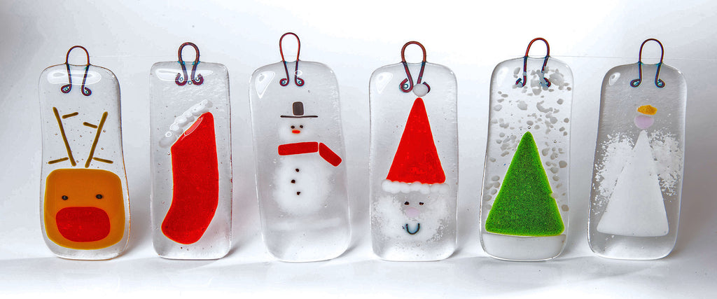 set of six fused glass christmas tree decorations