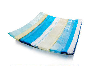 Beach Comber Fused Glass Art Dish